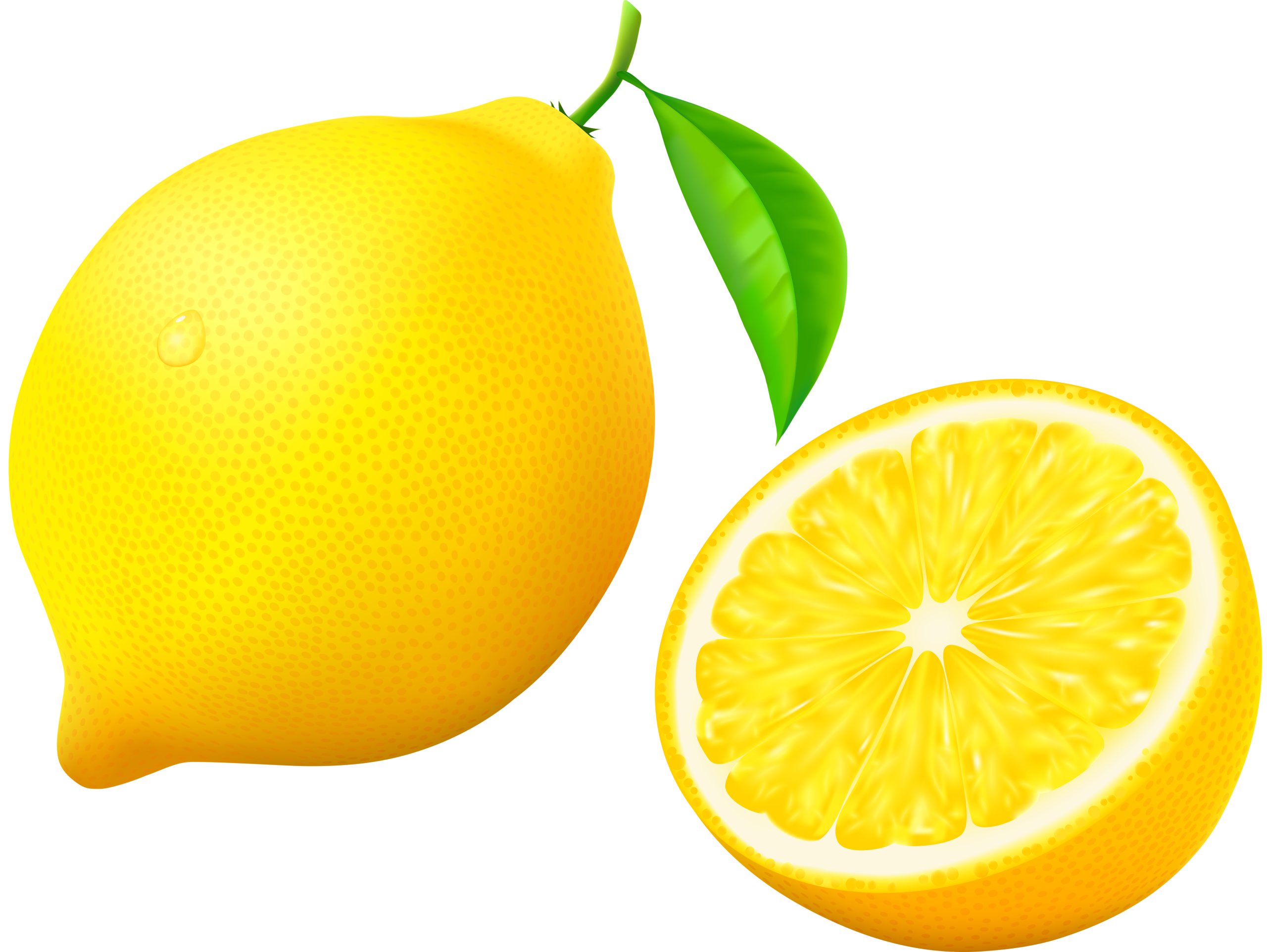 With half and flower. Fruit clipart lemon