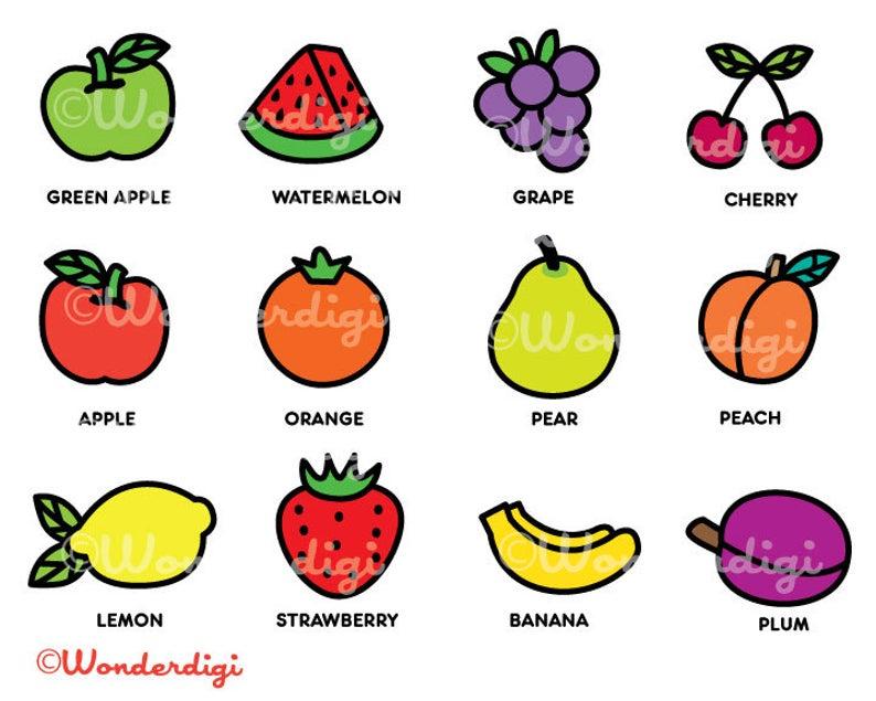 Fruits clipart line. Clip art kawaii