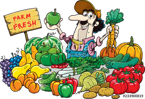 Fruit clipart man. A selling and vegetables
