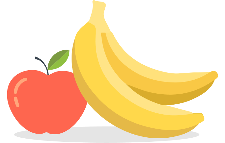 Fruits and veggies snack. Nutrition clipart banana