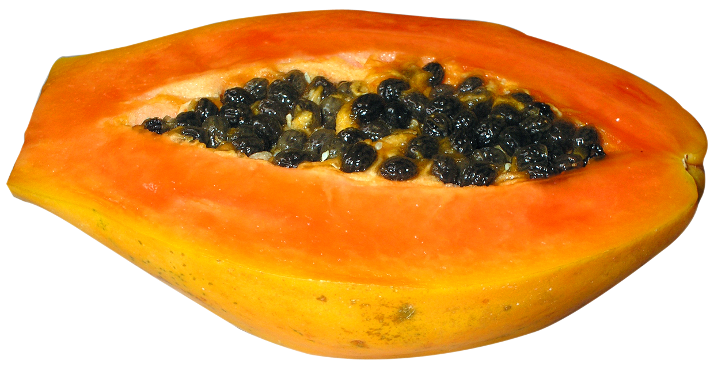 Half cut papaya png. Fruit clipart paw paw
