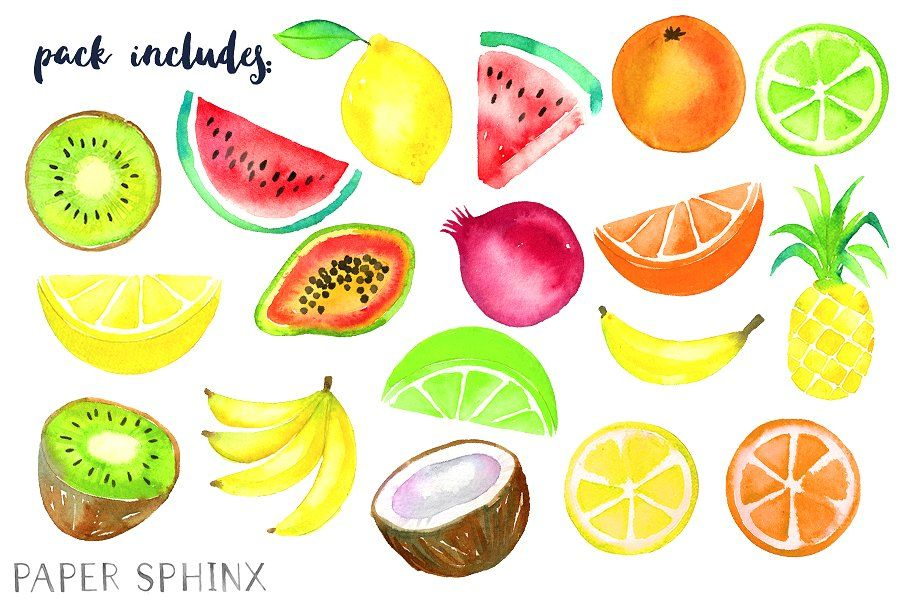 Watercolor elements stationery . Fruit clipart tropical fruit