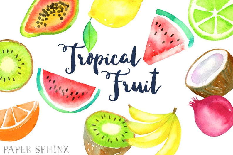 Watercolor clip art pineapple. Fruit clipart tropical fruit