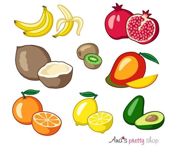 Fruits banana coconut kiwi. Fruit clipart tropical fruit