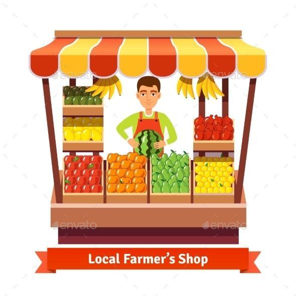 Local farmer produce shop. Fruits clipart vegetable store