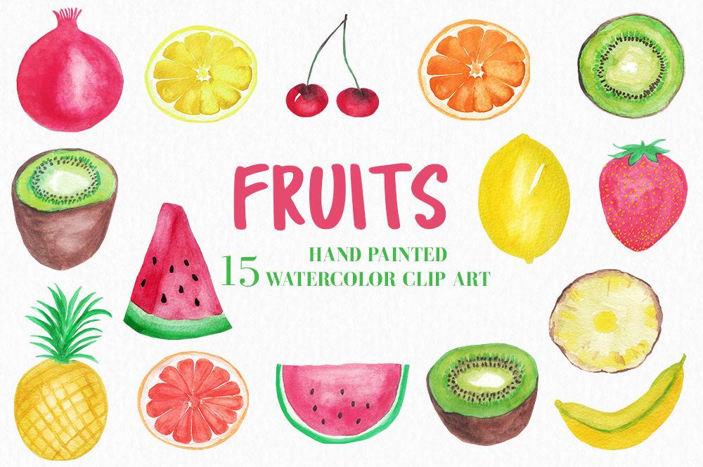 Watercolor fruits fruit . Lemon clipart watermelon