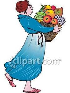 Fruit clipart woman. Carrying a basket of