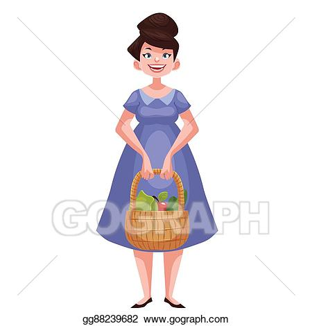 Fruit clipart woman. Drawing holding baskets of