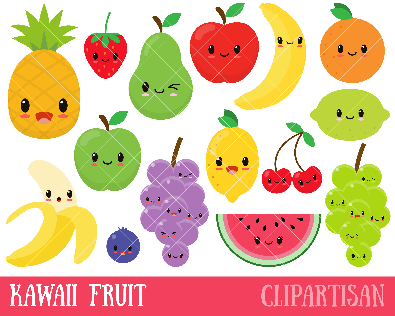 Fruit clipart. Kawaii cute happy clip