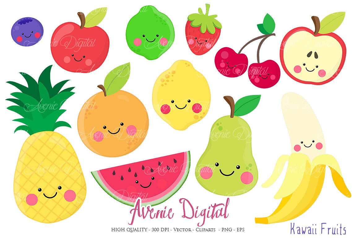 Fruits vectors illustrations creative. Banana clipart kawaii