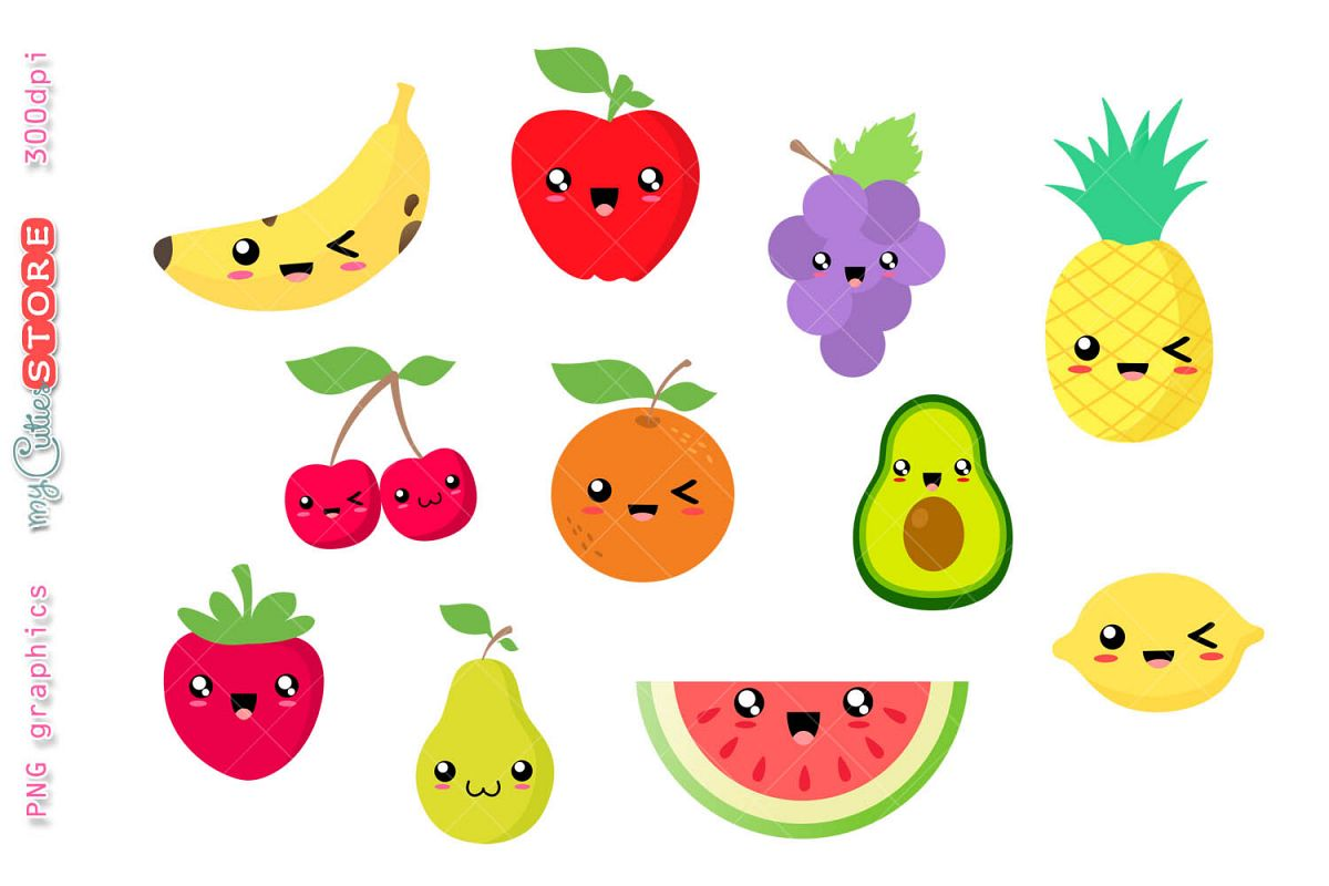 Collection of kawaii fruits. Watermelon clipart different fruit