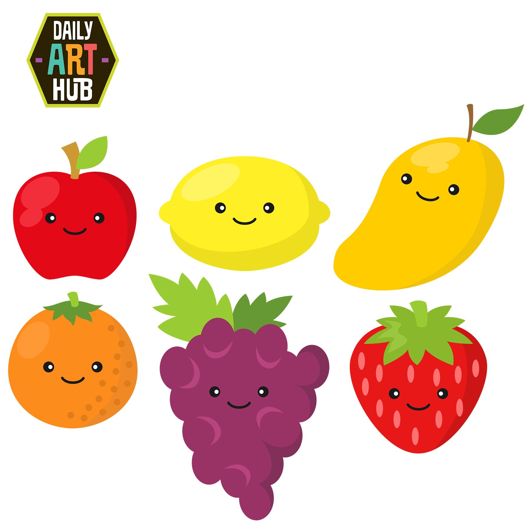 Cute clip art set. Fruits clipart