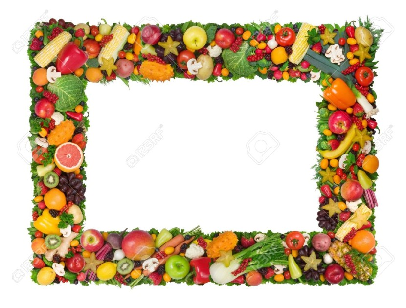 Fruit and vegetable border. Fruits clipart borders