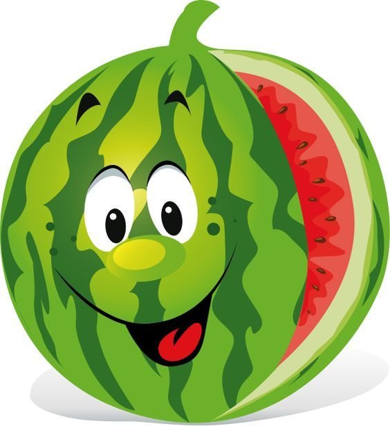 Watermelon clipart green fruit vegetable. Cartoon fruits funny