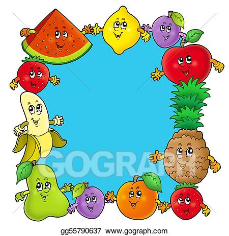 Stock illustrations with various. Fruits clipart frame