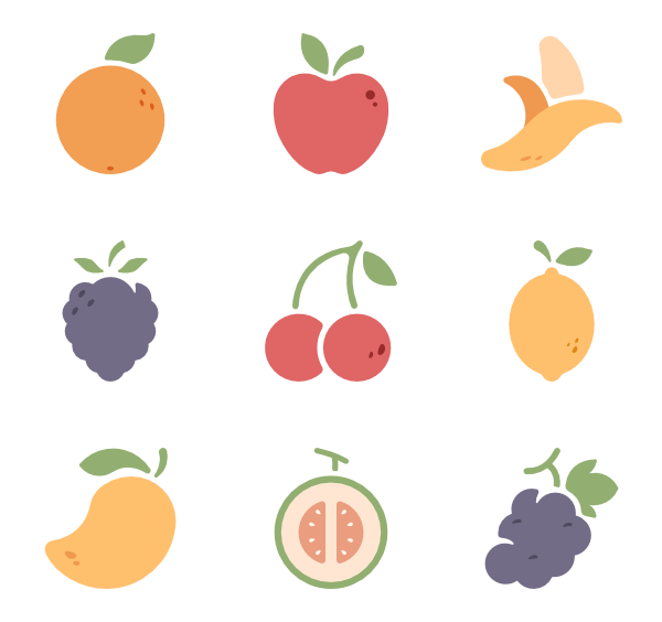 Icons free vector. Fruits clipart fresh fruit