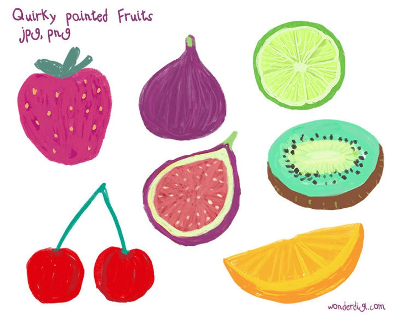 Fruits clipart summer fruit. Quirky painted clip art
