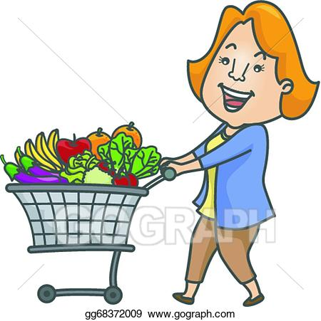 Fruits clipart woman. Eps illustration shopping cart