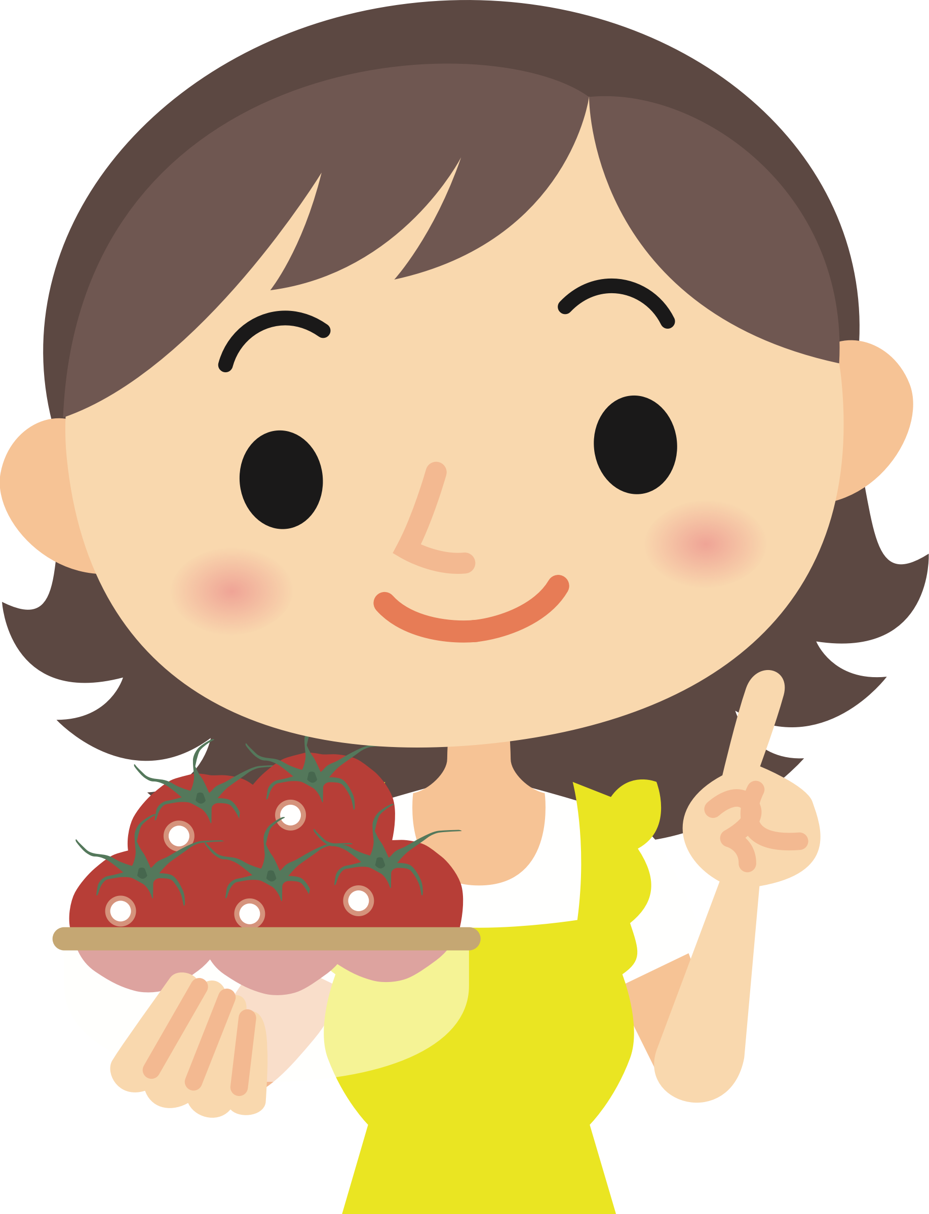 Tomatoes clipart happy tomato. Woman with big image