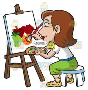 A painting still life. Fruits clipart woman