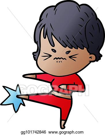Frustrated clipart frustrated child. Vector art cartoon woman