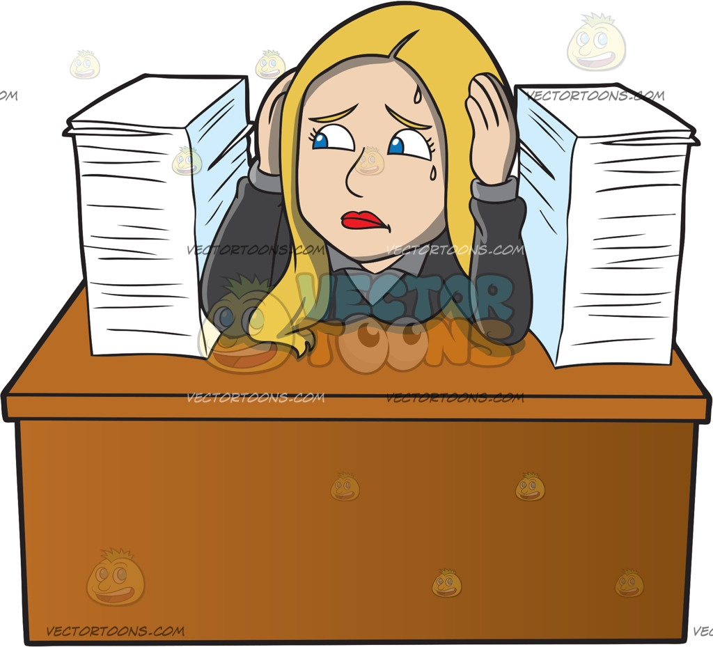 A female with pile. Frustrated clipart frustrated employee