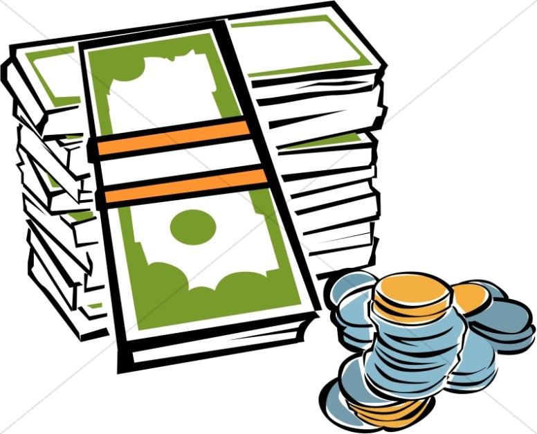 Fundraising clipart. Stack of money with