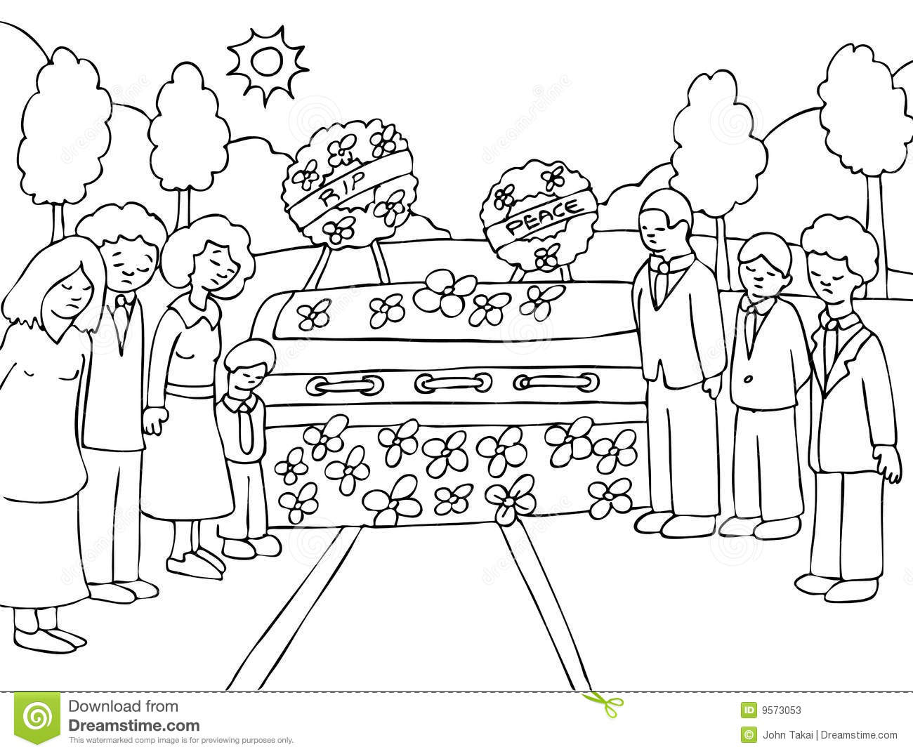 Funeral clipart black and white.
