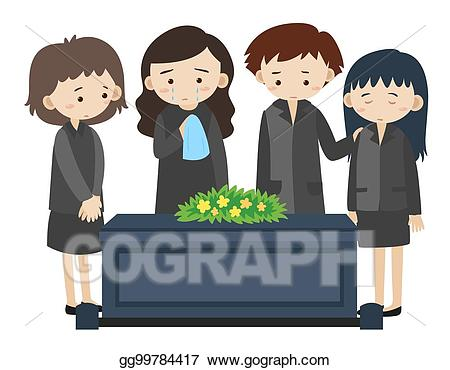 Vector illustration sad people. Funeral clipart boy