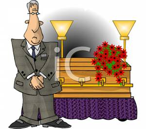 Director standing by a. Funeral clipart cartoon