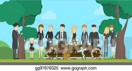 Vector art ceremony illustration. Funeral clipart event