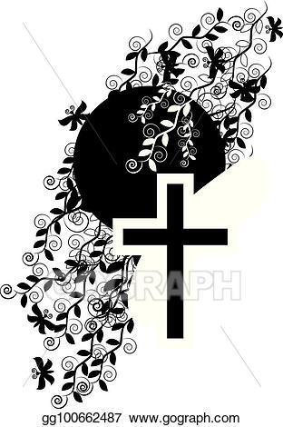 Funeral clipart faith. Vector art icon cross