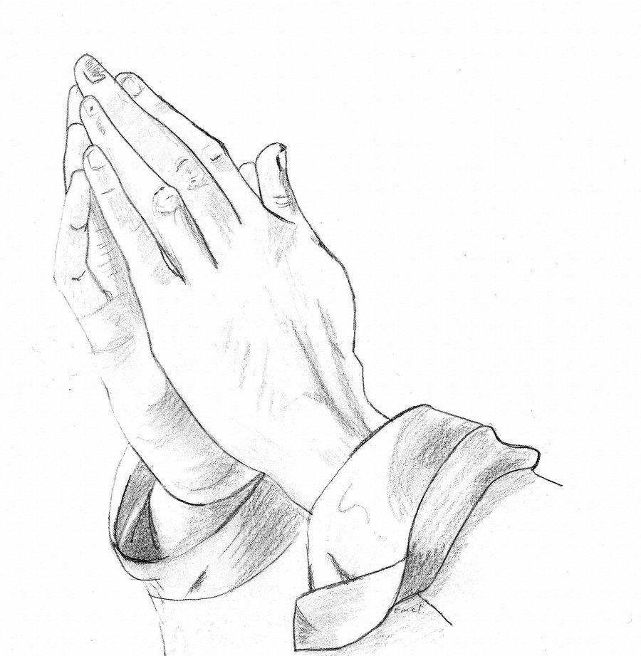 Praying hands program template. Funeral clipart prayer