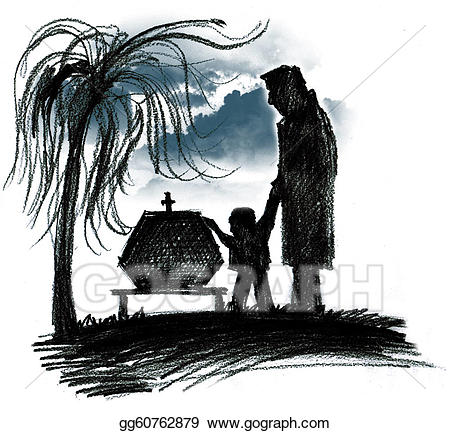 Stock illustration drawing gg. Funeral clipart sad