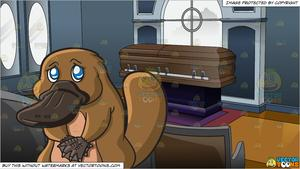 Funeral clipart sad. A looking platypus and