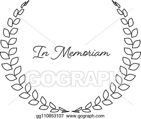 Vector illustration wreath with. Funeral clipart simple