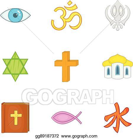 Funeral clipart spirituality. Eps illustration icons set
