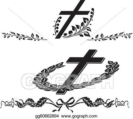 Illustration cross wreath eps. Funeral clipart vector