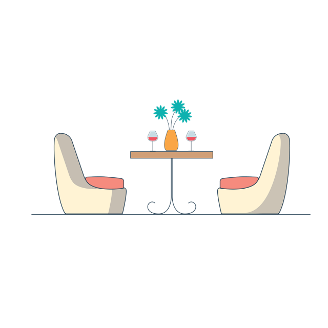 Cafe restaurant vector interiors. Furniture clipart adobe illustrator