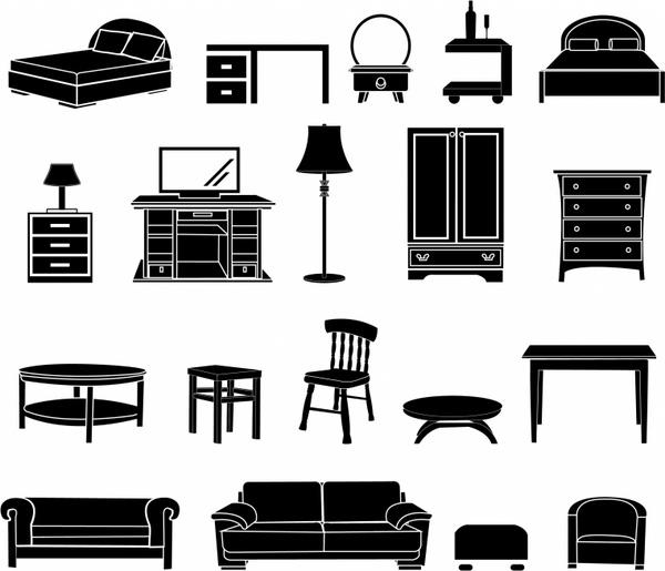 Furniture clipart adobe illustrator. Home black and white