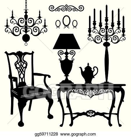 Furniture clipart antique furniture. Vector stock illustration