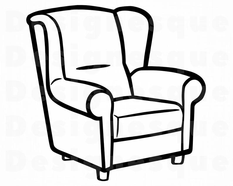 Furniture clipart arm chair. Armchair outline svg files