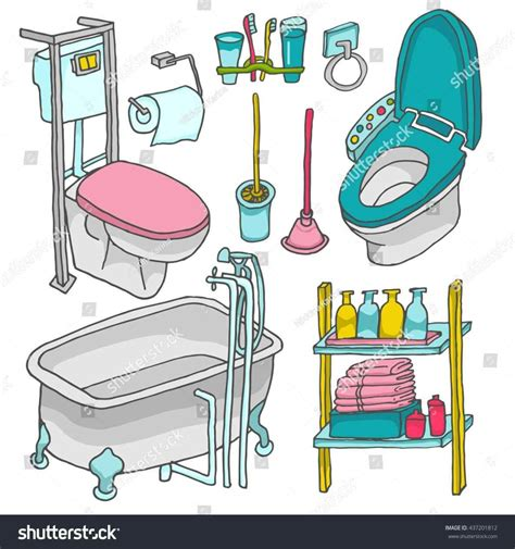 Pencil and in color. Furniture clipart bathroom furniture