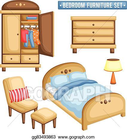 Furniture clipart bedroom furniture. Clip art vector set