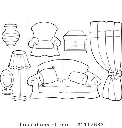 Furniture clipart black and white. Pencil in color