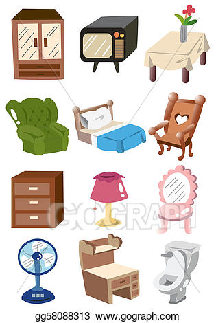 Vector illustration home icon. Furniture clipart cartoon