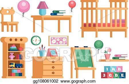 Furniture clipart children's. Vector stock set childrens