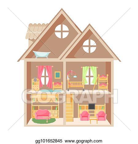 Furniture clipart children's. Eps illustration doll house