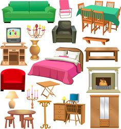 Furniture clipart dollhouse furniture. Free doll house cliparts