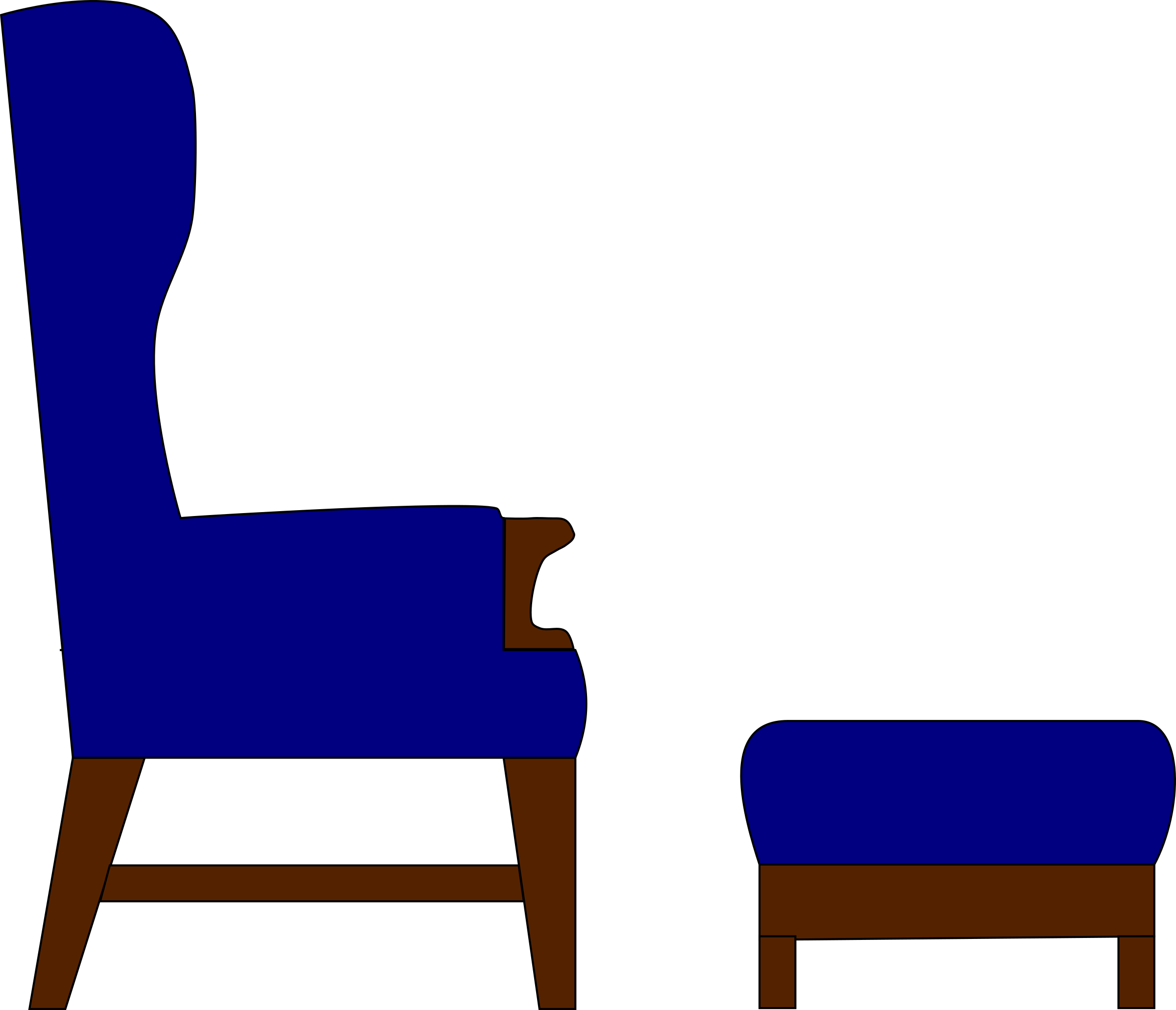 Easychair and footstool big. Furniture clipart easy chair